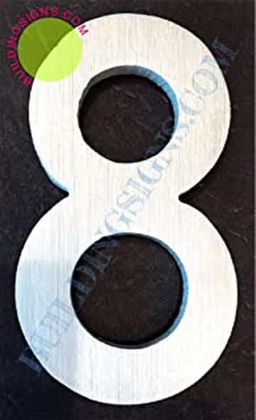 Aluminum Number 8 Sign (Brush Silver,Double