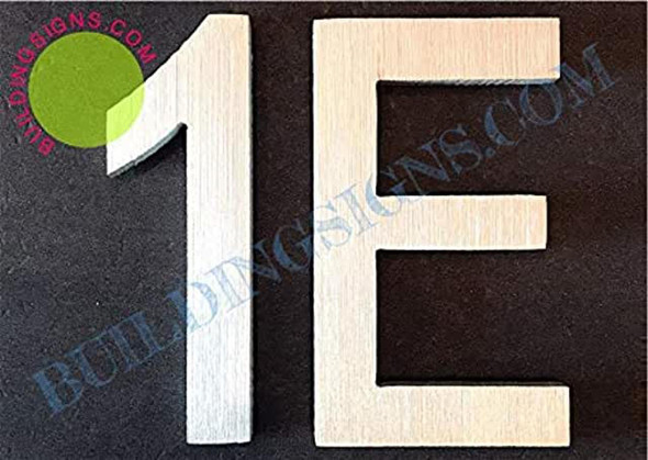 Apartment Number 1E Sign (Brush Silver,Double