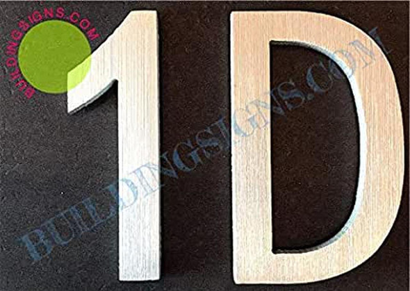 Apartment Number 1D Sign (Brush Silver,Double