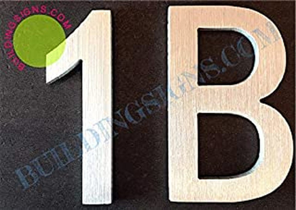 Apartment Number 1B Sign (Brush Silver,Double