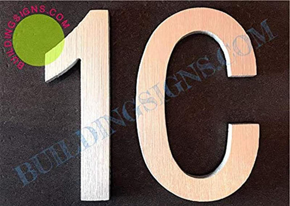 Apartment Number 1C Sign (Brush Silver,Double