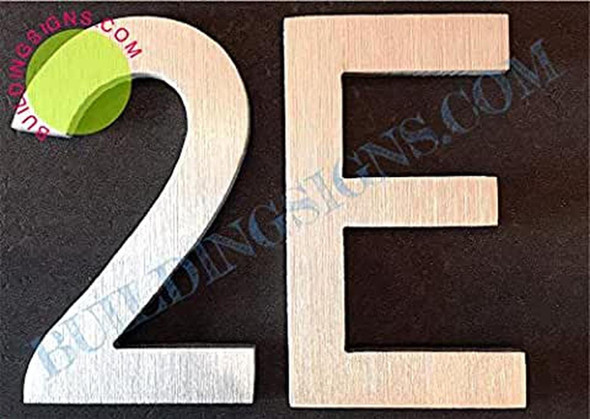 Apartment Number 2E Sign (Brush Silver,Double