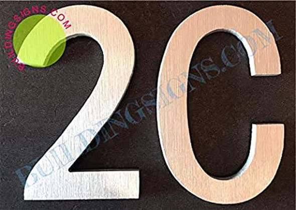 Apartment Number 2c Sign (Brush Silver,Double