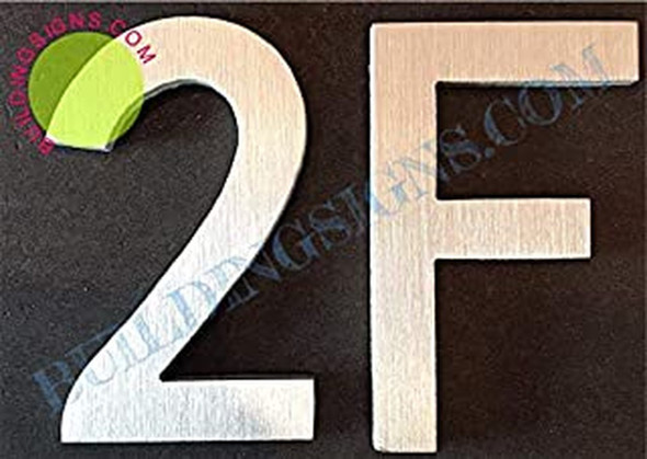 Apartment Number 2F Sign (Brush Silver,Double