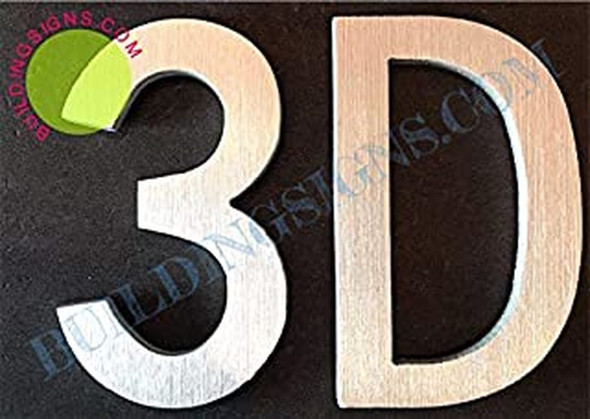 Apartment Number 3D Sign (Brush Silver,Double