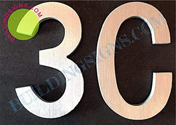 Apartment Number 3C Sign (Brush Silver,Double