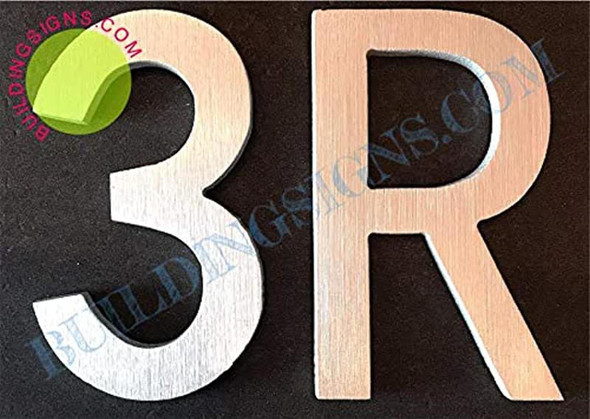 Apartment Number 3R Sign (Brush Silver,Double