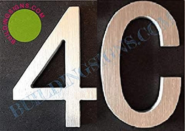 Apartment Number 4C Sign (Brush Silver,Double