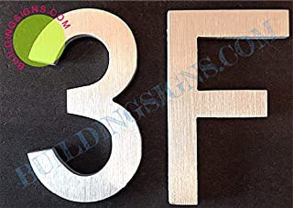 SIGNS Apartment Number 3F Sign (Brush Silver,Double