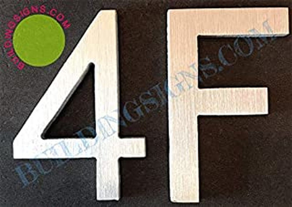 Apartment Number 4F Sign (Brush Silver,Double