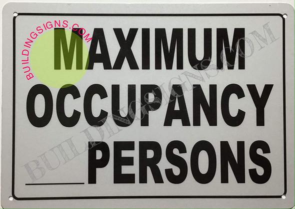 Maximum Occupancy Sign (Reflective !!, Aluminium-Rust