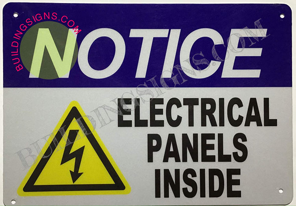 Notice Electrical Panels Inside Sign (Reflective