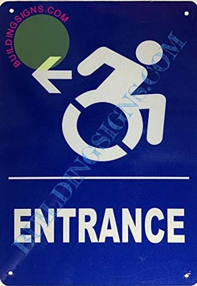 SIGNS Entrance Left Arrow Sign (Aluminium-Rust Free,Blue,