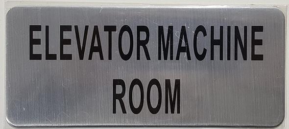 SIGNS Elevator Machine Room Sign (Brush Aluminium,