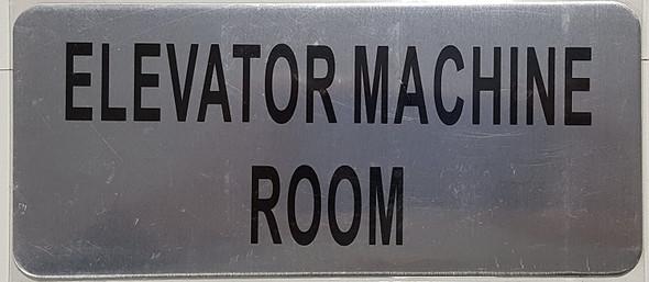 Elevator Machine Room Sign (Brush Aluminium,