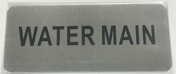 WATER MAIN SIGN (BRUSH ALUMINIUM, 3.5X8