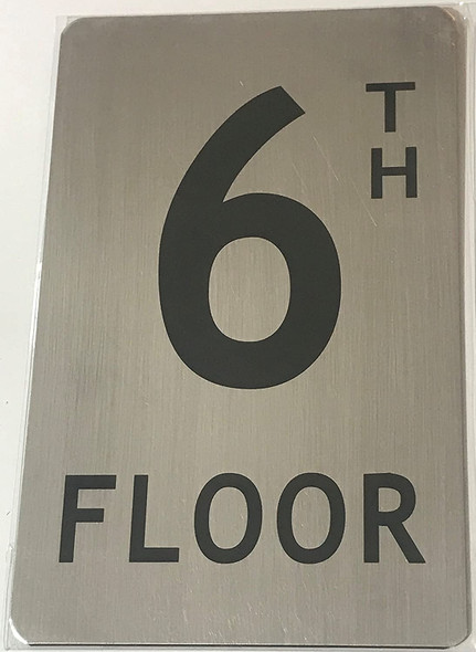6TH Floor Sign (Brush Aluminium, 5X8)-The