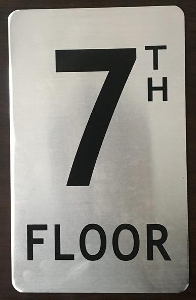 7TH Floor Sign (Brush Aluminium, 5X8)-The