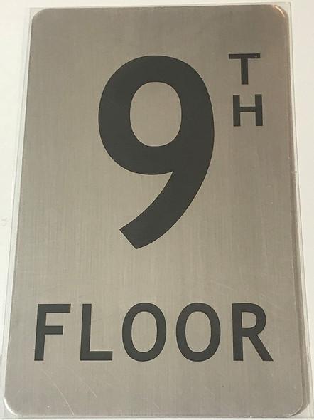 SIGNS 9TH Floor Sign (Brush Aluminium, 5X8)-The