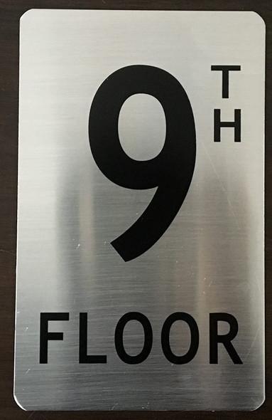 9TH Floor Sign (Brush Aluminium, 5X8)-The