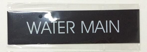 WATER MAIN SIGN (BLACK ALUMINUM)-(ref062020)