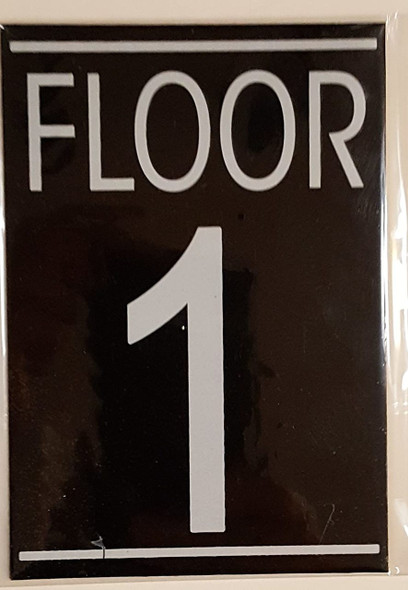 SIGNS FLOOR 1 SIGN (BLACK ALUMINUM 5.75X4)-