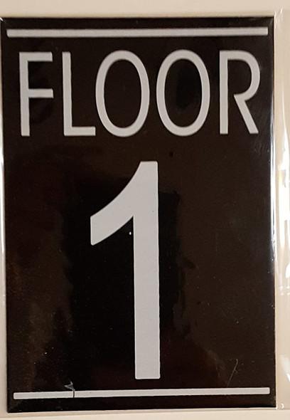 FLOOR 1 SIGN (BLACK ALUMINUM 5.75X4)-