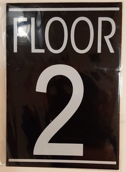 SIGNS FLOOR 2 SIGN (BLACK ALUMINUM 5.75X4)-
