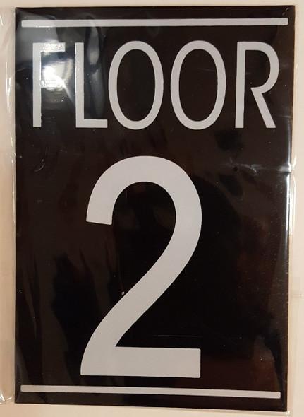 FLOOR 2 SIGN (BLACK ALUMINUM 5.75X4)-