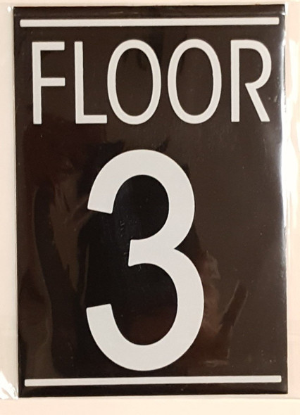 SIGNS FLOOR 3 SIGN (BLACK 5.75X4)- nero