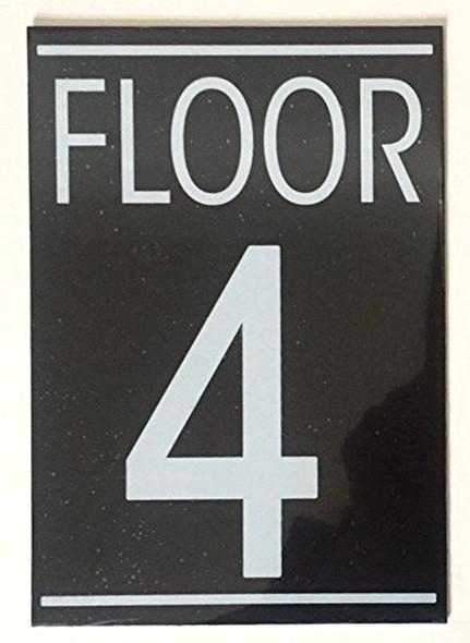 SIGNS FLOOR 4 SIGN (BLACK 5.75X4)-(ref062020)