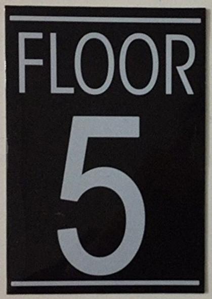 FLOOR 5 SIGN (BLACK 5.75X4)-(ref062020)