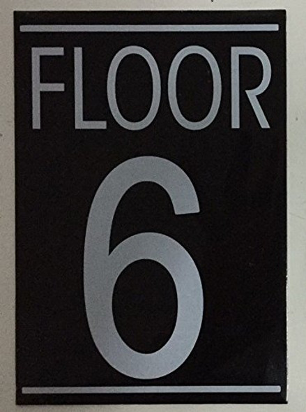 SIGNS FLOOR 6 SIGN (BLACK 5.75X4)-(ref062020)