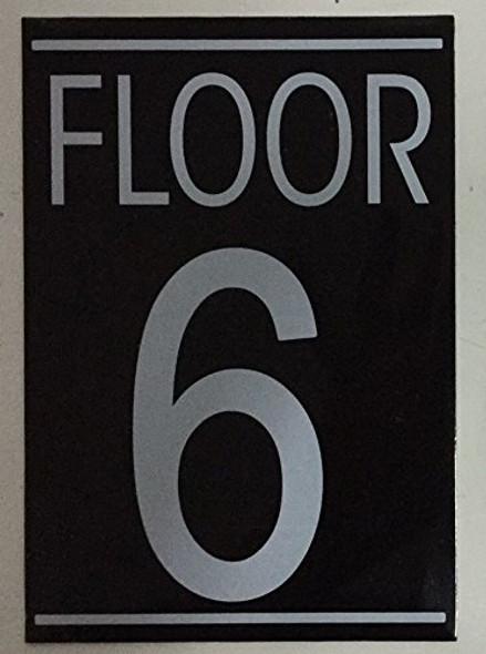 FLOOR 6 SIGN (BLACK 5.75X4)-(ref062020)