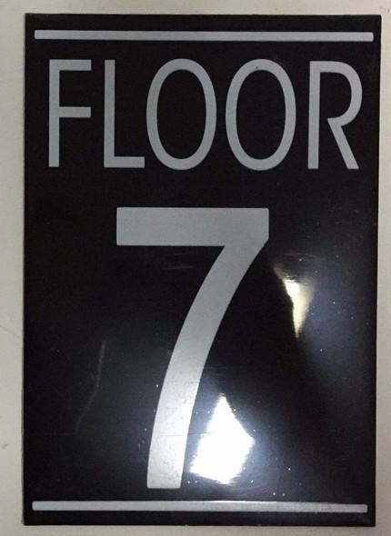 FLOOR 7 SIGN (BLACK 5.75X4)-(ref062020)