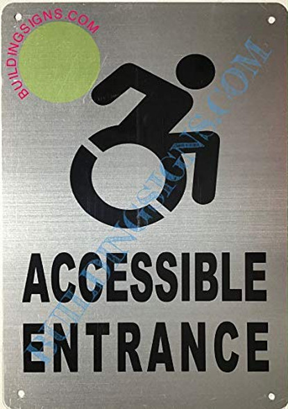 SIGNS ACCESSIBLE Entrance Sign (Aluminium-Rust Free,Silver, Size