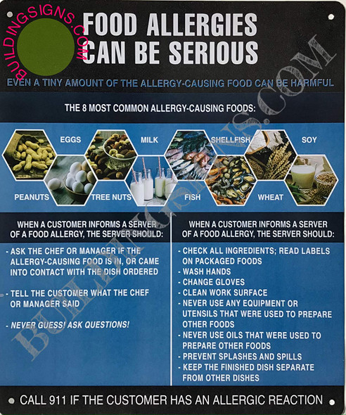 SIGNS Food Allergies Sign (Aluminium-Rust Free,Blue/Black, Size