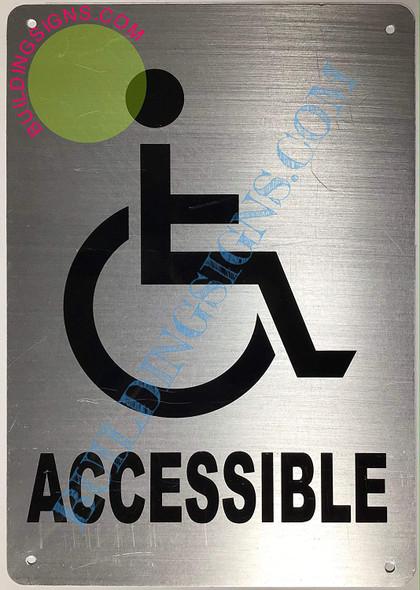 ACCESSIBLE Arrow Sign (Aluminium-Rust Free,Silver, Size