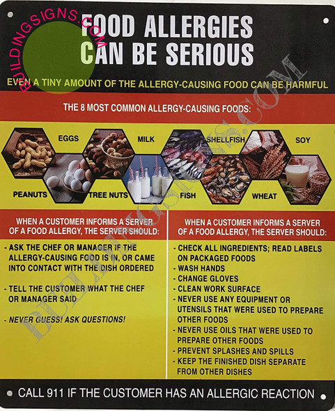 Food Allergies Sign (Aluminium-Rust Free,Yellow/Black, Size