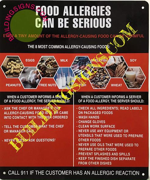 Food Allergies Sign (Aluminium-Rust Free,RED/Black, Size