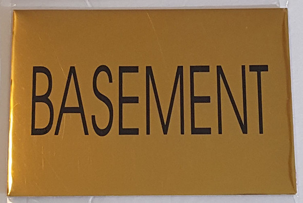 SIGNS BASEMENT SIGN - Gold BACKGROUND (ALUMINIUM