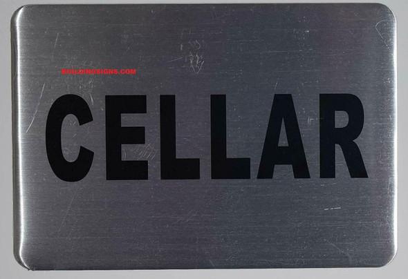 Cellar Floor Sign (Silver, Aluminium, 4X5.75)-Delicato