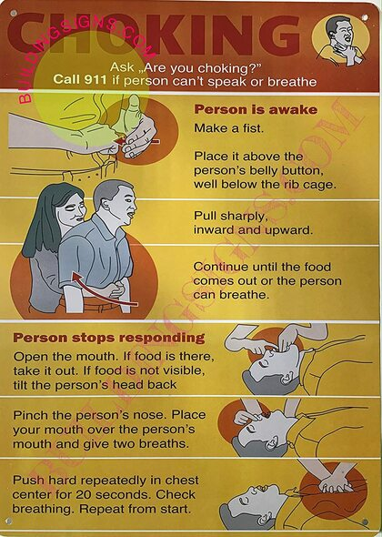 Choking Poster/Choking Sign (Orange,Rust Free-Aluminium, 10x14