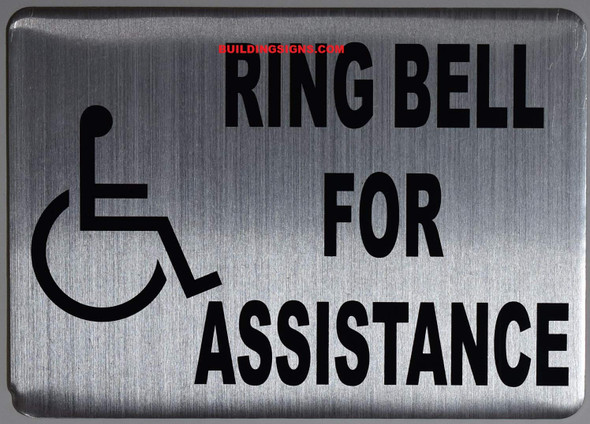 SIGNS ADA-Ring Bell for Assistance with Symbol