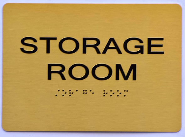 SIGNS STORAGE ROOM SIGN Tactile Signs (Gold)-(ref062020)