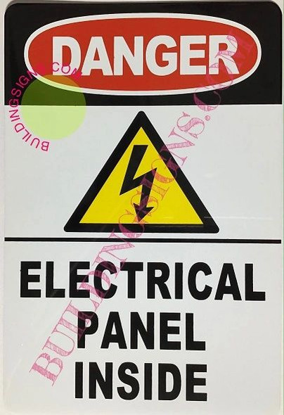 SIGNS Danger Electrical Panel Inside Sign (White,