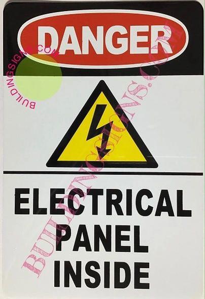 Danger Electrical Panel Inside Sign (White,