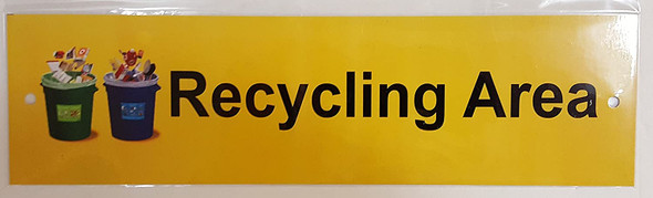 RECYCLING AREA SIGN ( 3x11 -Rust