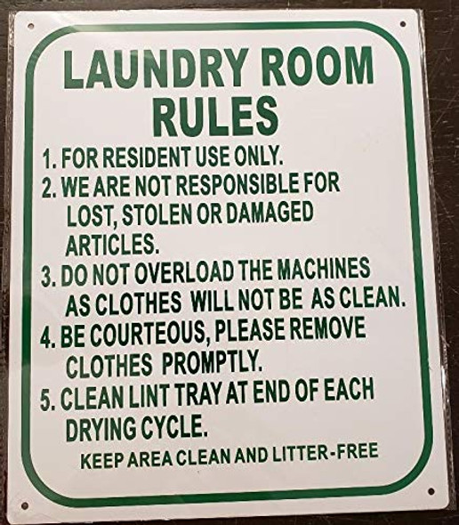 SIGNS Laundry Room Rules Sign (White,Aluminium 10x12