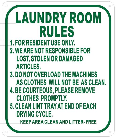 Laundry Room Rules Sign (White,Aluminium 10x12